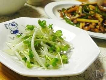 もやし・かいわれ大根という、100円もしない材料でたっぷりつくれるナムル料理をご紹介。  さっと茹でで、ごま油や塩を和えれば完成です。ニンニクチューブをちょこっと混ぜたり、白ごまをかけたり、海苔を加えても美味しそう。