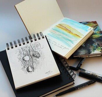 お散歩スケッチ後には、お気に入りのカフェなどに立ち寄って、今日描いた絵を見返してみましょう。自分でも思っていない心の動きが見えてくることも。スケッチは、やがて一冊のオリジナルの絵画集になります。そのスケッチが幾つも溜まっていくのもまた喜びがあります。