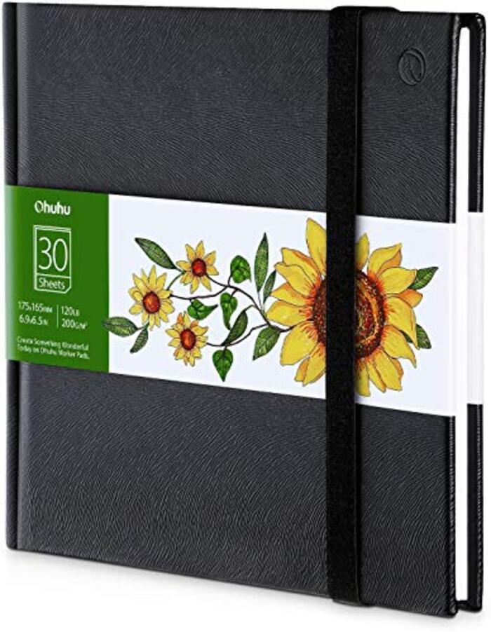 Ohuhu スケッチブック 200gsm 30枚 画用紙 175mm×165mm ブラック