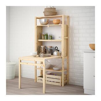 他であまり見かけない、収納棚に折り畳み式テーブルが付いた便利なタイプのイーヴァルです。テーブルを出せば料理などの作業や、食事の際のダイニングテーブルとして利用が可能です。テーブルを使わない時はコンパクトに畳んでしまうことができますし、収納スペースを綺麗に隠すことができます。
