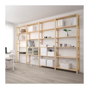 こちらは、大型の壁面収納として使っていくのにおすすめのイーヴァルです。書類、細々としたものもたっぷり収納することが可能ですよ。壁面収納は背が高く場所をとるため、設置するのに少し抵抗がある方もいるかもしれませんが、壁というデッドスペースを有効活用して収納することができるので、とにかくたくさんの物を収納したい方に向いています。