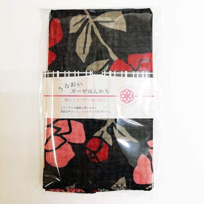 ガーゼハンカチ 3重 日本製  野ばら(黒)