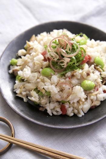 焼いたアジの干物と薬味、枝豆をすし飯と合わせるお手軽な混ぜご飯。買いすぎて余ってしまった薬味やたくさん茹でた枝豆の消費にも。