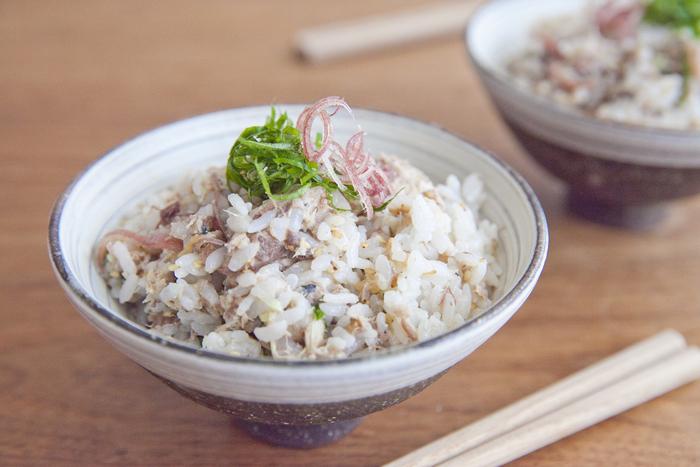 サバ缶を使ったお手軽レシピ。たたいて潰した梅干しの酸味と、大葉&ミョウガの爽やかさが絶妙です。火を使わないから、疲れた日のパパッとご飯にぴったり。