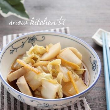 白菜と里芋のゆず風味の煮物。ゆずの皮をたっぷり使っていますので、いい香りが広がります。年齢を問わず、喜ばれるおかずですね。