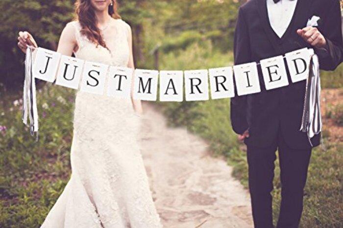 (ウエディングランド)WEDDINGLAND ガーランド JUST MARRIED リボン 2.3 パーティー 小物 ウェディング 結婚式 装飾 フォトアイテム