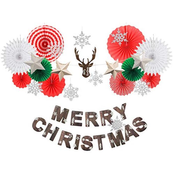 Easy Joy クリスマス飾り付けセット オーナメント ガーランド ペーパーファン 雪の結晶 クリスマスツリー 装飾 インテリア 写真背景