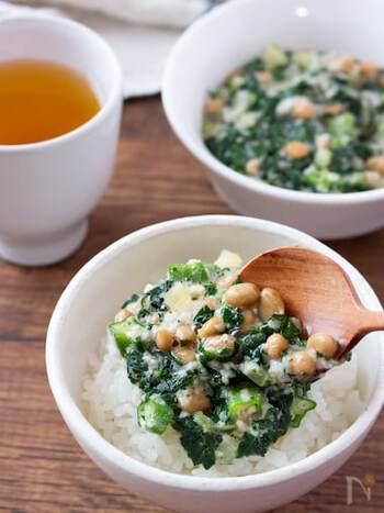 こちらは長芋、オクラ、納豆、モロヘイヤと4種のねばねば食材が入っています。ご飯にも麺にもぴったり!とろみが強いのでスルスルっと食べられます。
