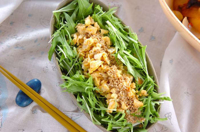 油揚げと一緒に炒った卵を使ったサラダのレシピ。手作りのゴマドレッシングをかけて頂きます。たっぷりの水菜の上に盛り付ければ、彩りもボリュームも◎