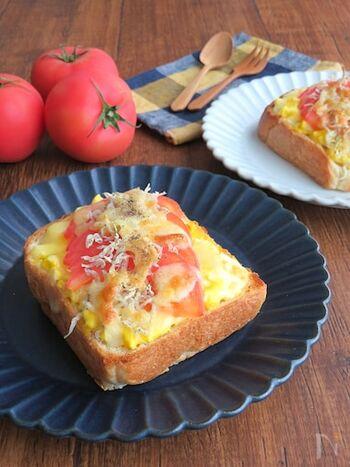 食パンに卵サラダとトマト、ちりめんじゃこ、チーズを乗せて焼いたトースト。ちりめんじゃこのカリカリ食感がアクセントです。ボリュームも栄養もあって、朝食にぴったりですね。