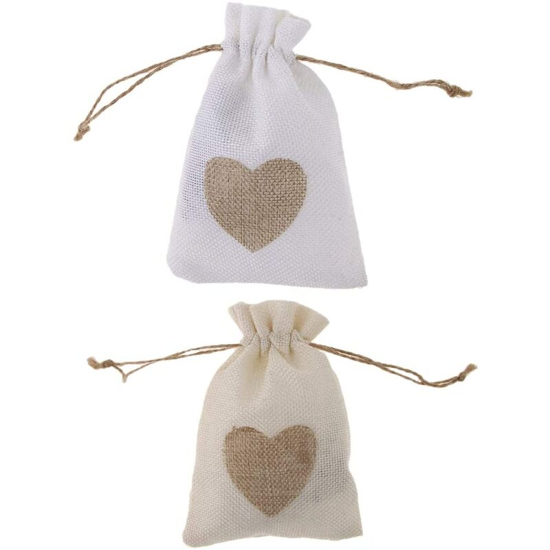 ギフトバッグ 巾着袋 収納ポーチ ハート柄 小物入れ 約20個 2色選べ - 20個白い