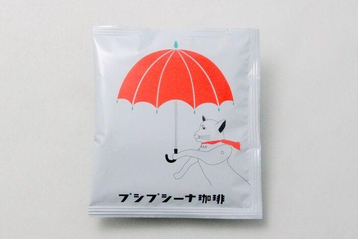 プシプシーナ珈琲のマスコットキャラクターは、横顔がユーモラスな猫ちゃんです。ドリップバッグには様々なイラストで描かれて、パッケージを見る楽しみもあります。