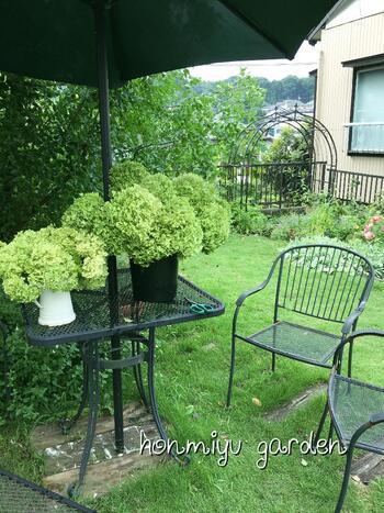 芝生のお庭にガーデンテーブル&チェアを揃えると、一気に海外風に!庭仕事の合間に休憩したり、育った植物を切って花瓶に生けたり…庭づくりがさらに楽しくなりそう。