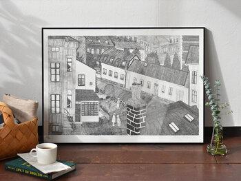 スウェーデン・ヨーテボリの町並みを描いたポスター。日常をそのまま切り取ったかのような素朴さの中に、キラリと光るシャープさが。