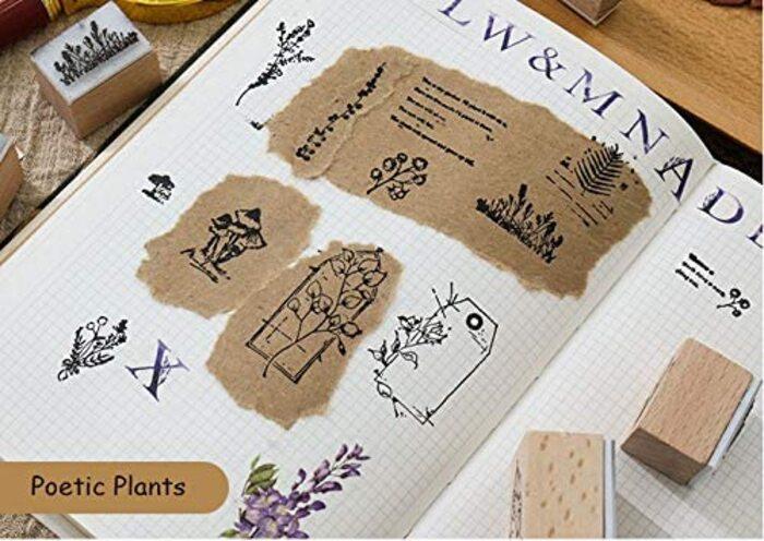 MissOrange『木製ゴム印セット』 12個セットM-18 (Poetic Plants)