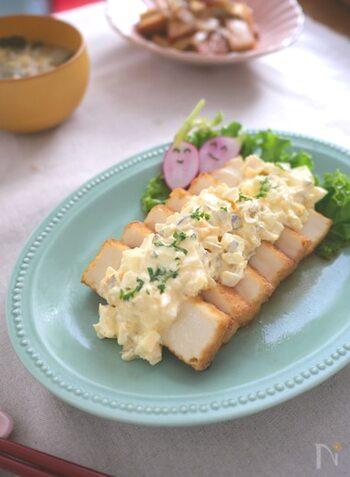 厚揚げを使えば、揚げ物をする必要がありません! タルタルソースに使うピクルスがないときは、レモン果汁とお塩で代用できるそう◎