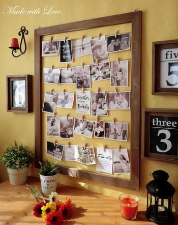 こちらのように、フレームの中にたくさんの写真をクリップで飾れるものもあります♪楽しい思い出を一つにまとめることができますね*