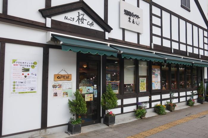 """「地場屋ほっこり」の隣には、ギャラリーを併設した""""オーガニックカフェ""""の「ほっこり桜cafe」があります。 【大磯駅正面に店を構える「ほっこり桜カフェ」】"""