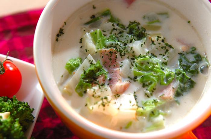 白菜はクセがないため、いろんな味付けと相性がいいのも魅力。シチューやミルクスープなどのクリーム系との相性もぴったりです。 シャキッとした食感のコクのあるミルクスープを楽しめます。ほっこりと温まりたい日の夜食としてもおすすめです。