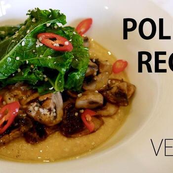 ポレンタとは、コーンミールをおかゆ状に煮たイタリア料理で、これもプリモ・ピアット。焦げ付きやすいので、よくかき混ぜながら作ります。