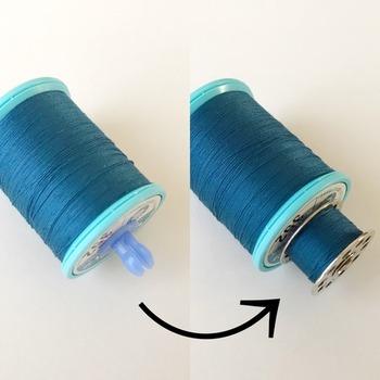 □ボビンキャッチャー…同色の「ミシン糸とボビン」をワンセットで保管できます。微妙な色違いや同じ色でも太さの違う糸など、組み合わせておくと使う時にとても便利。