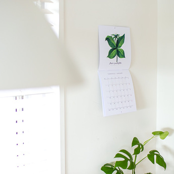 フィンランドで人気のあるアーティストの作品を使ったペーパーアイテムが有名なケフボラ・デザイン。  こちらは植物をモチーフにしたカレンダー。毎月、北欧の草花を楽しめますよ。