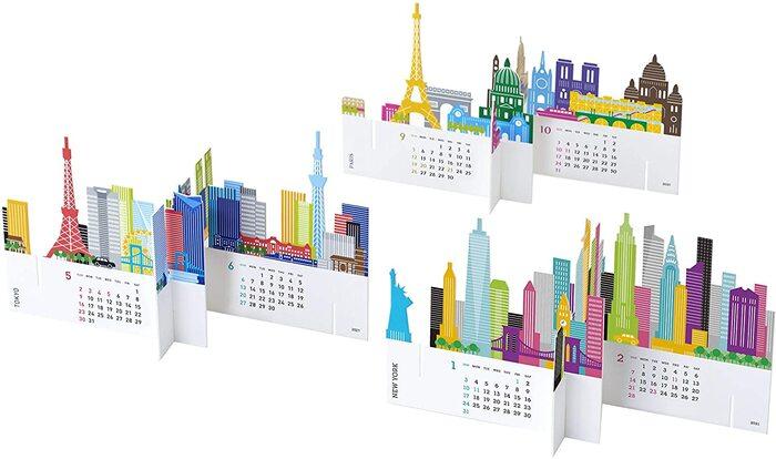 ドイツのデザインアワードを受賞したスタイリッシュな立体カレンダー。2021年はニューヨーク、東京、パリがセットになっています。型ぬきで作られたカレンダーは、のりやはさみなしで、組み立てることができるんです。  ひとつの都市で、4カ月分のカレンダーが表現されています。この建物はどこの建物なのかな、と考えるだけでも旅行気分を味わえそうですね。