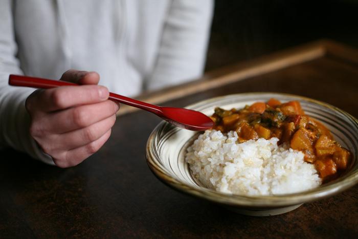 柄の部分に緩やかな曲線があり、手に馴染んで使いやすいように工夫が施されています。和食器との相性が抜群なのはもちろんですが、意外とシンプルな洋食器とも好相性です。漆の艶が食卓に華やかさを運んでくれます。