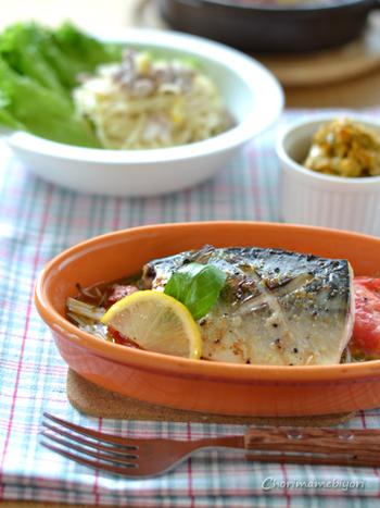 オーブントースターならグリル料理もお手のもの。材料を切って入れるだけの簡単料理なので、忙しい日にも大助かり。魚料理が手軽に楽しめます。こちらは塩サバを使って、イタリアン仕立てに。