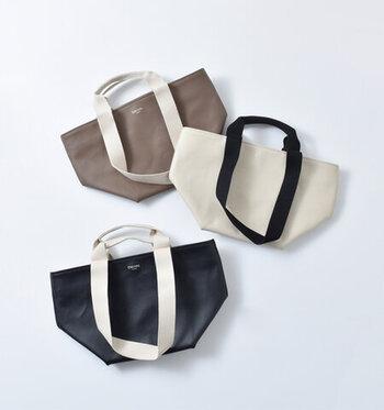 ヘンプ、ココア、ブラックの、使いやすいベーシックなカラーバリエーションもうれしい。バッグ本体とは異なる配色の2wayの持ち手もいいアクセントになっています。