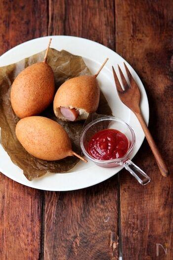 ホットケーキミックスで作る、お手軽ミニドッグ。ウインナー以外にもいろんな具で作って楽しんでみてください♪