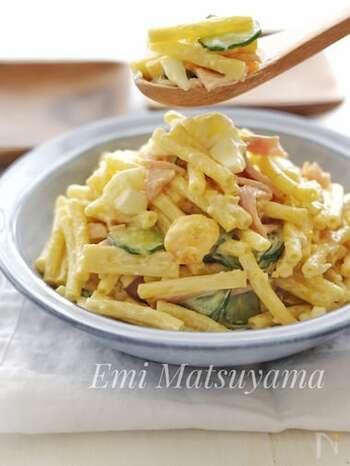 カロリーが気になる、マヨネーズで和えるサラダ。コンソメで味を調えつつヨーグルトをプラスすることで、カロリーオフしつつさっぱりとした味に仕上がります。