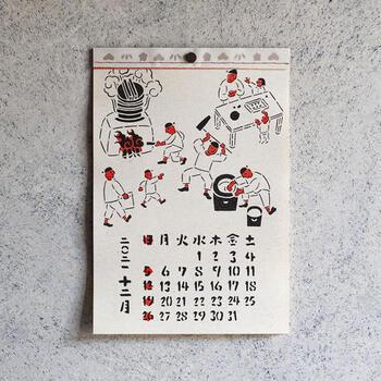日本の季節の風物詩の一場面が登場する月も。自然と季節のうつろいに関心がわくのではないでしょうか。  このカレンダーと共に生活していると日々忙しくても、道端に咲く花にふと足を止めるような心持ちになれそうです。