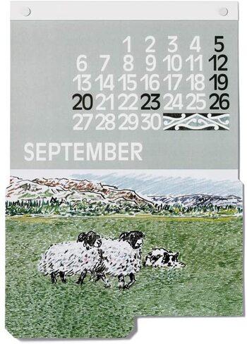 カレンダーの数字やイラストの場所も毎月、異なっているので、いつも新鮮な気分に。  過ぎ去った月のカレンダーもイラストポスターとして壁に飾って置けば、お部屋の中で世界一周気分を楽しめます。