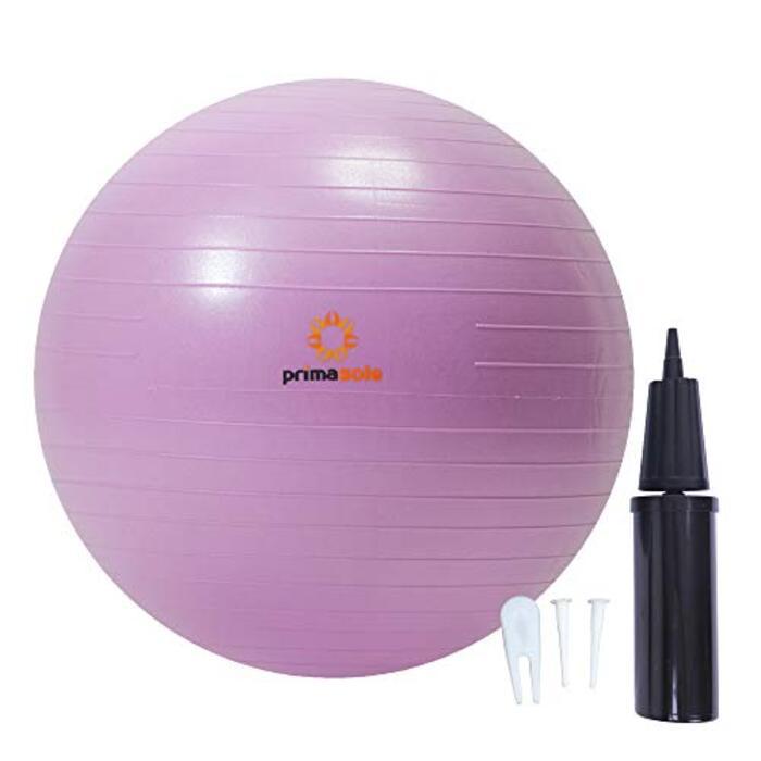 【Amazon限定ブランド】プリマソーレ フィットネスボール 45cm ネイルピンク 空気入れ付き