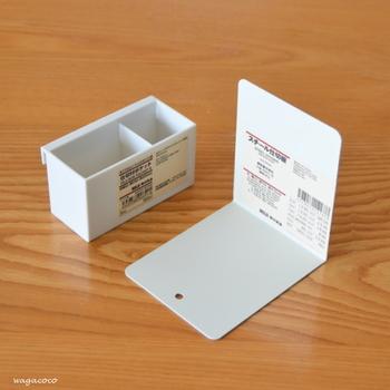 最後に「ポリプロピレンファイルボックス用・仕切り付ポケット」。  サイズは約幅9×奥行4×高さ5cmで、ポケットと同じ幅です。他のポケットより低い分、高さがない物を収納するのに適しています。