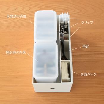 細々とした物が多いキッチンでもファイルボックス用ポケットが役立ちます。  わが家のここち。さんのお宅では、ファイルボックス・ワイドハーフと一緒に使ってお茶セットにしているそう。