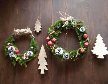 葛のつるを土台に鮮やかなクジャクヒバをあしらったクリスマスリーズの作り方。姫りんごや松ぼっくりを散りばめて、オリジナル感たっぷりに仕上げましょう。