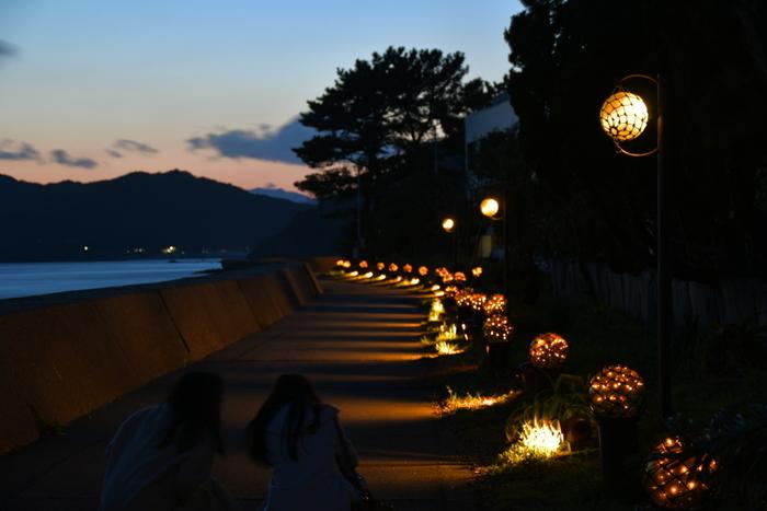 海岸に沿って約1kmも続く「びん玉ロード」。元々、釣りの道具として使用されていたビン玉をライトアップし幻想的な景色を演出しています。