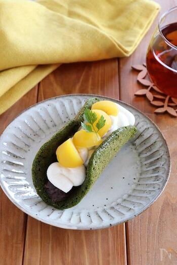 粒あんと抹茶に栗を合わせた、間違いない組み合わせの和風オムレットです。栗は甘露煮で優しい甘さを楽しんでくださいね。