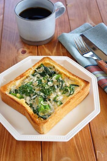 しらすなどを使った和風のキッシュトーストも意外なおいしさ!卵液に味噌や豆乳を使って、さっぱりした味わいに仕上げます。