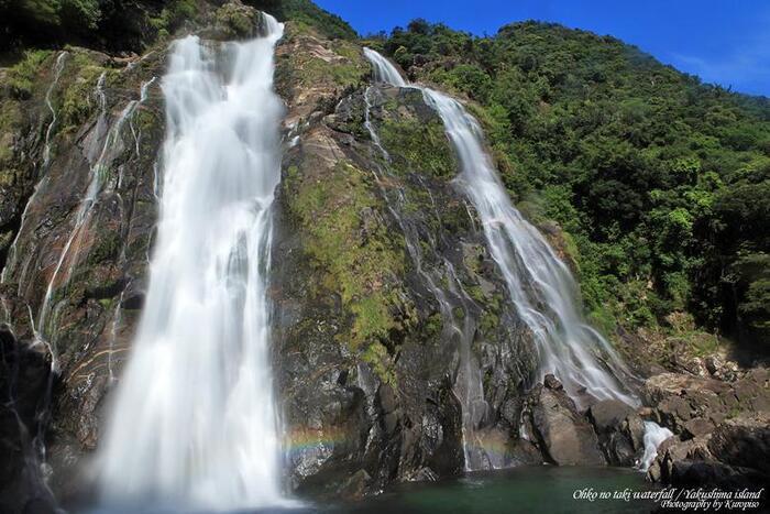 晴れた日には滝壺に虹がかかることもしばしば。青い空と白い水、そして七色の虹の共演が見られますよ!