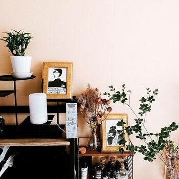 グリーンとドライフラワーを同じ空間に飾るのもおしゃれ♪絵や雑貨などと一緒にバランス良く飾るセンスも素敵ですね。
