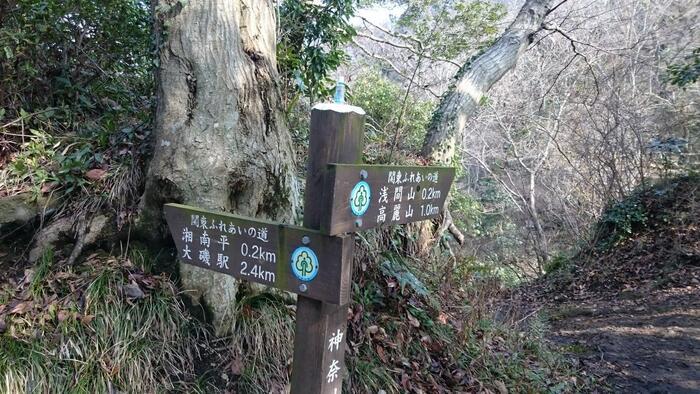 コースの順路にしたがって歩けば、迷うことなく、山や水の景観、里山の風景を楽しみながら、身体を心地良く動かすことが出来ます。【3月中旬の「高麗山ハイキングコース」(画像は、「湘南平」~「浅間山」間の山道)】