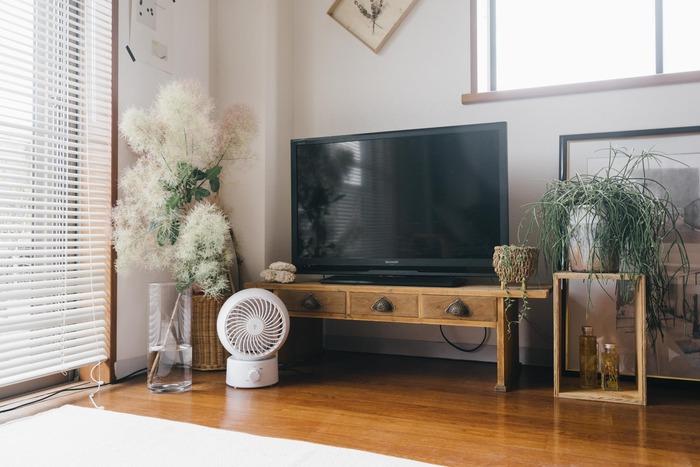 どこか懐かしい雰囲気が漂う、引き出しの取っ手が可愛いテレビボードは、日本の和家具・アンティーク品を取り扱う「CASIN」のもの。テレビ周りが無機質にならないように、さまざまなグリーンを飾って。