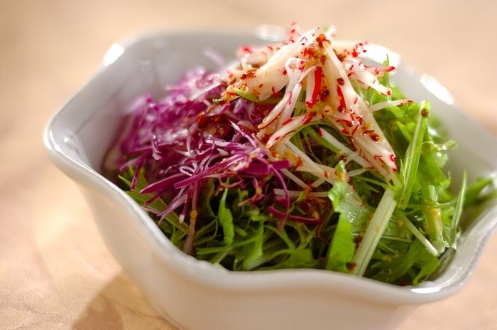 紫キャベツをいつものサラダに混ぜるだけで、レストランのメニューに変身します。緑色の水菜、ラディッシュと一緒にシャキシャキの歯応えを楽しんでみてくださいね。