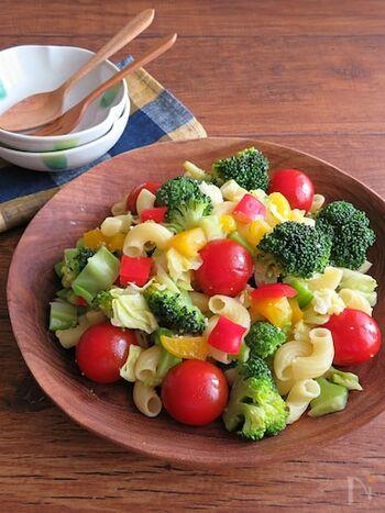 副菜にサラダを用意すると一気に彩りが豊かになります。必ずトマトを盛り付けるようにすると鮮やかな赤色が食卓を明るく元気にしてくれますよ。こちらは、ミニトマトが入っているマカロニサラダです。同じお皿に緑黄色野菜を入れることで、見た目もより鮮やかに。