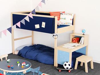 子供部屋は子供にとって楽しく、居心地の良い空間になるようできるだけ子供の好みのカラーやデザインでコーディネートしていきましょう!自分が気に入ったカラーやデザインで選び部屋作りをしていくことも、大切な心の発達に繋がっていきますよ。自分の部屋で過ごすのが楽しいと感じてくれるようになれば、自然と子供部屋で一人で過ごす時間が長くなっていきます。