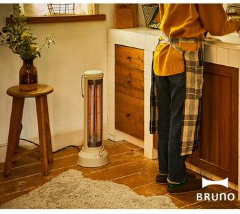 キッチンにも洗面所のようにヒーターを置くのは効果的。料理を作ろう!と思ったらすぐに取り掛かれるように、即効性のあるアイテムが特におすすめ。こちらは、パワフルですぐにあたたまるカーボンヒーターです。首振り機能付きで、ピンポイントに熱くならず身体全体をあたためてくれるのも嬉しいポイント♪