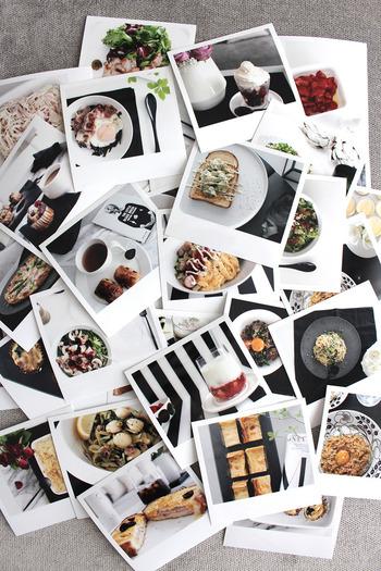 レシピには料理の写真があると見栄えがよくなります。おうちプリントもいいですが、カメラ屋さんなどでプリントしてみると色鮮やかに美しく、長く保存できる写真が完成します。  レシピノートの貼る場所に合わせた大きさやかたちをじっくり考えてみましょう。普通のスナップのほか、ましかくプリントやインスタントカメラ風の縦長プリントなど、最近は写真もいろいろなサイズがあります。